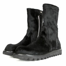 RICK OWENS $2,120 cow hide pony hair black fur creeper sole boots 44-I/11-US NEW