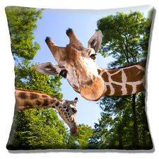 "Funny Novelty Two Giraffes Woodland Trees Photo Print 16"" Pillow Cushion Cover"