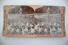 Stereoview card real photo A June Carnival Dancing Round the Daisy Pole May Pole