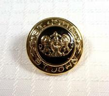 "ST JOHN Replacement Logo Button 7/8"" Lion Crest Black Ceramic Gold Shank"