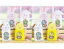 8 EASTER Holiday TREAT GIFT BAGS w/ Window BUNNY CHICK LAMB Pink White Yellow