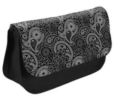Pencil Case #15 Paisley BLACK Make up Cosmetics Girls Pattern Pretty DS Cute