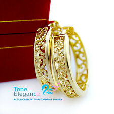 18k yellow gold GF hoop  dangle antique filagree style solid earrings wedding