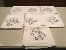Vintage Days Of The Week  Embroidered Tea Kitchen Towels Tea Party Complete
