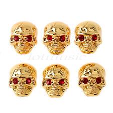 6pcs Gold Metal Skull Head Guitar Volume Tone Control Knob Guitar Knob