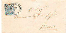 REGNO-20c su 15c(24)-Bustina viaggiata Campi Bisenzio- Livorno 5.5.1865