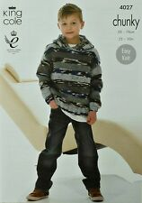 KNITTING PATTERN Girls/Boys Easy Knit Long Sleeve Hoodie Chunky King Cole 4027