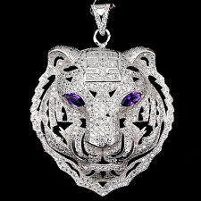 Sterling Silver 925 Genuine Lab Created Diamond & Amethyst Tiger Pendant