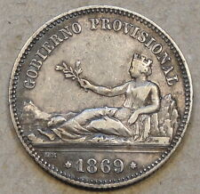 Spain 1869 Peseta Mid-Better Grade Coin as Pictured