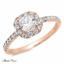 1.60 CT Engagement Ring Princess Cut Halo Solid 14k Rose Gold Bridal band
