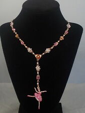Betsey Johnson Rose Goldtone BALLERINA ROSE Pave' Ballet Dancer Y Necklace $48