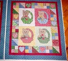Little Quilts Kitten Cat Fabric Panel Calico Patchwork Cheater diy fabriquilt