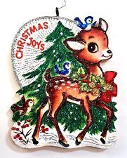 DEER w PINE TREE, BIRDS, CHRISTMAS JOYS * Glitter CHRISTMAS ORNAMENT * Vtg Img