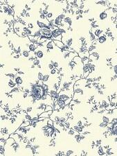 Wallpaper Classic Vintage Cottage Look Navy Floral Vine on Eggshell White
