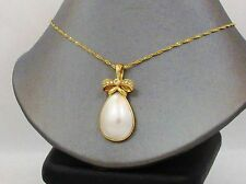 Pearl Diamond Pendant Enhancer 14k Yellow Gold Round Diamonds Mabe Pearl