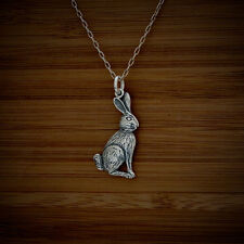 925 Sterling Silver Bunny Rabbit Charm Pendant FREE Round Cable Link Chain