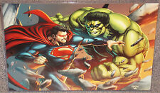 Incredible Hulk vs Superman Glossy Print 11 x 17 In Hard Plastic Sleeve