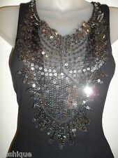 Sky Clothing Brand S Tank Top Black Silver Sequin Mesh Cutout Peek-A-Boo Club