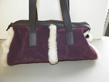 WOMAN'S UGG EGGPLANT PURPLE SUEDE PURSE WITH SHEARLING  NEVER USED