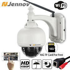 Jennov 1080P WiFi PTZ IP Camera Wireless Dome 4X Zoom Network 16G SD Card Slot