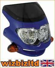Motorbike BLUE Headlight with screen and built in Indicators HLUSFBU