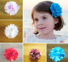 Wholesale Baby Girls Satin fabric Flower hair clip Toddler Hair bow 14pcs/lot