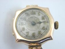 Antique decorative silver faced 9 ct gold wrist watch halmarked 1911 gr8 shape