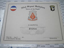 Army Obs. Orig 501st SIGNAL BATTALION 101st Airborne Blank Citation CERTIFICATE