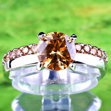 Cocktail Women Girls Round Cut Morganite Champagne Gemstone Silver Ring Size 8