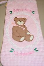 New Baby's First Christmas STOCKING TEddy Bear Girl Pink