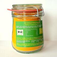 2 x 400 g Bio Kurkuma curcumin Pulver + natürliches Bio Piperin im Bügelglas