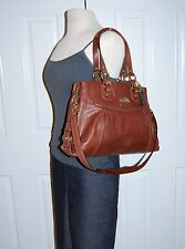 Coach Madison Carryall Mia Walnut Leather Brass Tote Shoulder Bag 14574