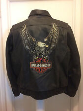 Harley Davidson Men Legendary Eagle  Brown Leather Jacket XL 98127-08VM