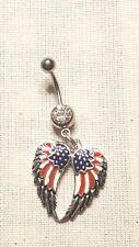 USA Flag Angle wing God Bless u  Belly Ring Navel Ring 14G Surgical Steel Dangle