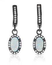 Lovely Earrings With Cubic zirconia and Opal in Black 925 Sterling silver