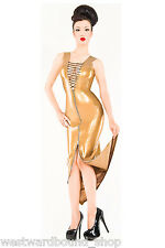 Caoutchouc latex westward bound robe cocktail taille 10 ** PEARLSHEEN gold ** £ 279
