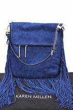 Karen Millen Blue Suede Leather Tote Shoulder Fringe Tote Handbag £265 Bag New