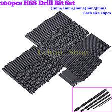 100pcs/set Black High Speed Steel Drill Bits Set (20pcs per 1mm/2mm/3mm/4mm/5mm)