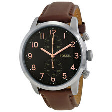 Fossil Townsman Chronograph Black Dial Brown Leather Mens Watch FS4873