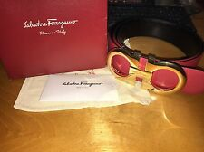 Salvatore Ferragamo Black/Red Reversible Big Buckle Belt Size 95cm 32/34