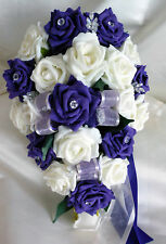 BRIDES TEARDROP BOUQUET , Wedding Flowers Ivory & purple roses with diamante