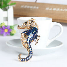 Ocean Sea Horse Hippocampal Charm Pendent Crystal Key Ring Chain Accessories Gif