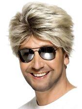 Men's 80's Street Blonde George Michael Wham Wig & Glasses Fancy Dress Costume