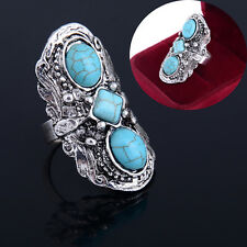 Vintage Three Tibetan Turquoise Stone Silver Carved Adjustable Rings Jewelry