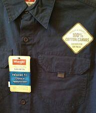 Men's SZ S Wrangler Blue Canvas Relaxed Fit Shirt Velcro Pockets~NEW~