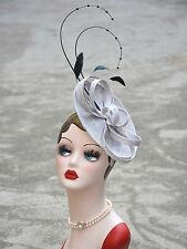 Grey Womens Sinamay Rhinestone Feather Flower Saucer Hat Fascinator A324