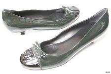 new PRADA dark green black cap toe bow patent pumps small heels shoes 40 US 10