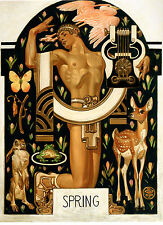"1929 J.C. Leyendecker, SPRING, Nature, Rabbit, Flower Butterfly, Artwork, 18""x13"