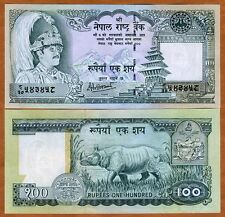Nepal, 100 Rupees, ND (2001), P-34 (34d), Sign. 14 UNC   King Birendra, Rhino