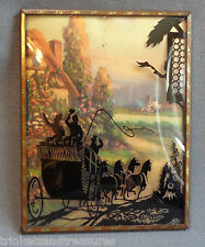 Vintage Single 1930s Convex Silhouette Shadow Picture Stagecoach Horse Carriage!